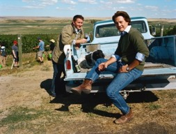"Eric with Kyle Maclachlan, finding grapes for ""Pursued By Bear"""
