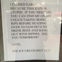 Ice Cream Riot's Early Closing Note