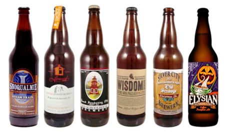 "A Selection of Washington's Best: Snoqualmie ""Steam Train"" Porter; Sound Brewery ""Monk's Indiscretion""; Old Schoolhouse ""Ruud Awakening""; Black Raven ""Wisdom Seeker"" DIPA; Silver City ""Old Scrooge"" Christmas Ale; Elysian ""Punkaccino"" Pumpkin Coffee Ale"