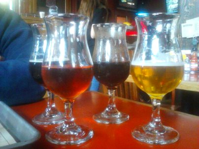 L-R: Dubel (rear) Raspberry Wild, Stout (rear), Saison Brett