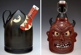 Photo of gorgeous ceramic growlers from Montana-based Carlburg Pottery from foodiggity.com